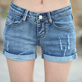 2016 summer new Korean version was thin hole jeans denim shorts curling Ms. straight jeans