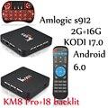 KM8 PRO 5pcs kodi tv box Amlogic S912 8 core km8 pro 2g 16g Android 6.0 Dual Wifi Fully loaded unlocked 4K BT4.0 km8