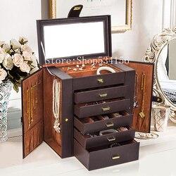شحن مجاني كبير صندوق مجوهرات ساعة حالة أقراط من الخرز خواتم مجوهرات الدولاب حقيبة للتخزين الأسود براون جلدية حلية تنظيم
