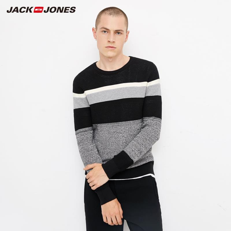 JackJones Autumn Men's Cotton Large Round Neck Stitching Striped Sweater Top  218324523