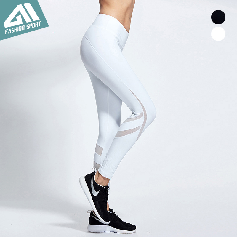 2017 New Aimpact Women Yogo Pants Sexy Fitness Pants Mesh Patchwork Girl Tight Running Workout Pants Female Slim Sports leggings