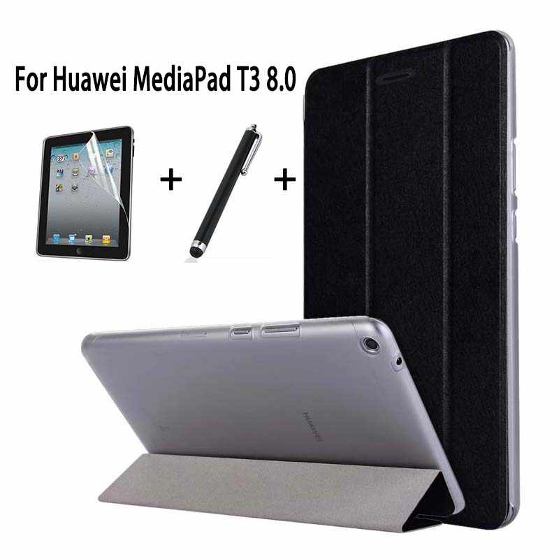 "Slim PU Case For Huawei MediaPad T3 8.0"" KOB-L09 KOB-W09 Stand Flip Cover Funda For Honor Play Pad 2 8.0 Cover Skin +Film+Pen"