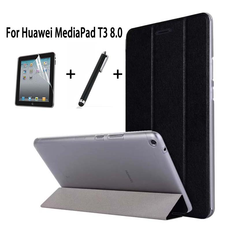 Slim PU Case For Huawei MediaPad T3 8.0″ KOB-L09 KOB-W09 Stand Flip Cover Funda For Honor Play Pad 2 8.0 Cover Skin +Film+Pen