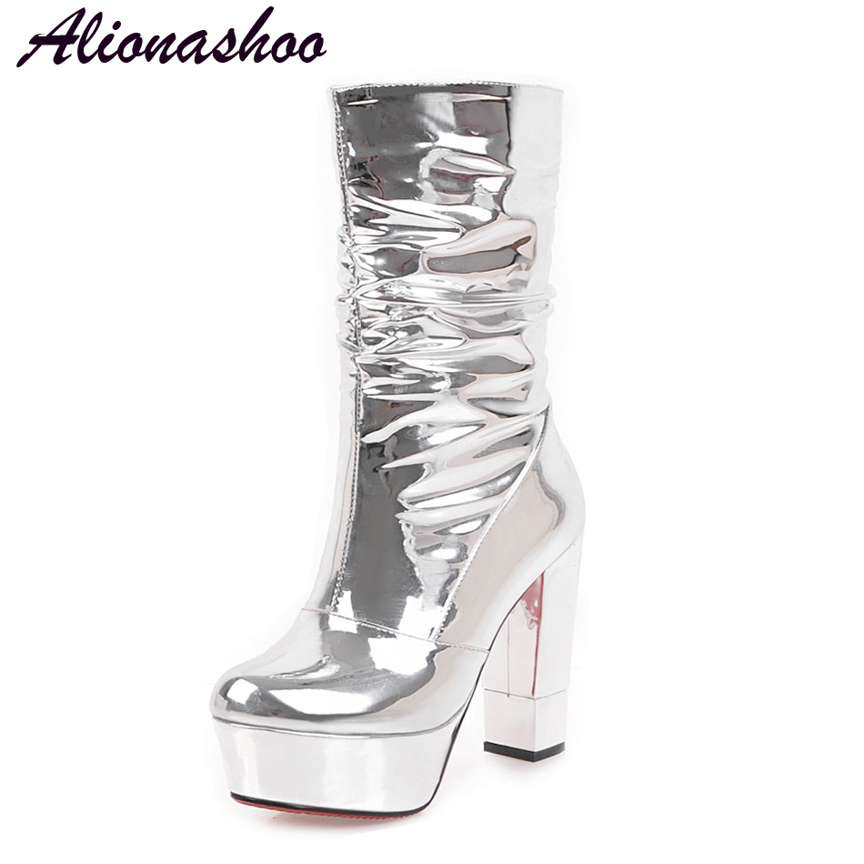 Alionashoo Plus size 34-43 new snow boots women warm winter shoes waterproof boots fur platform mid calf boots silver club shoes vamolasc new women autumn winter leather mid calf boots warm crystal square high heel boots platform women shoes plus size 34 43