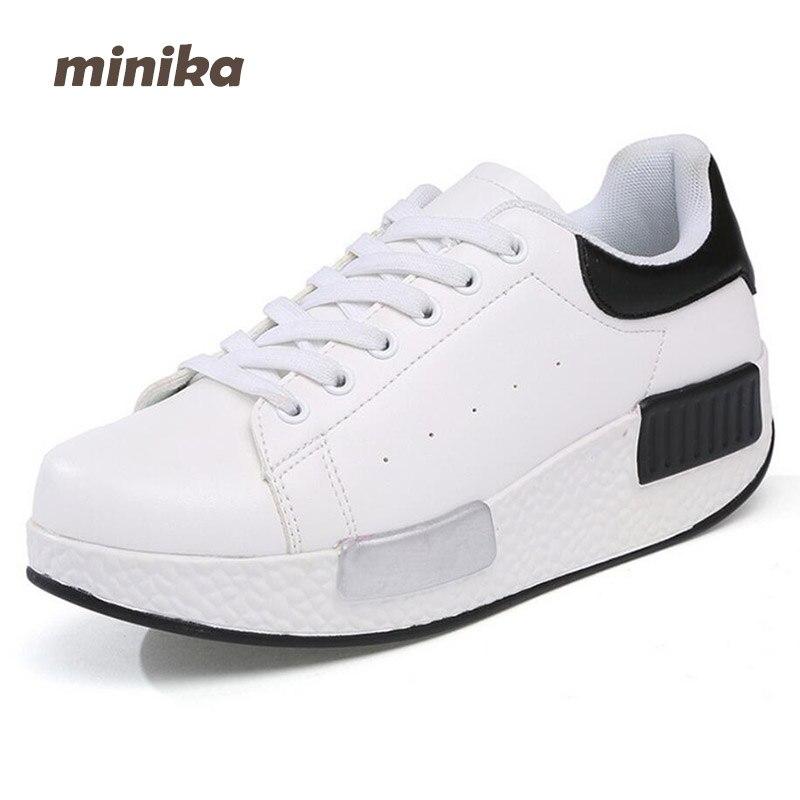 Minika Spring Women Microfiber Shoes Casual Lace Up Flats Shoes Fashion Outdoors Walking Shoes Comfortable Women Platforms 7e28 minika soft