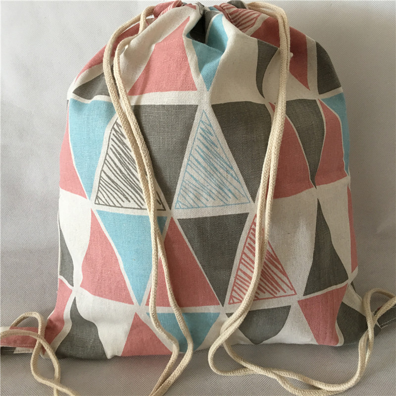 YILE Cotton Linen Drawstring Travel Backpack Shoes Sorted Bag Student Book Bag Geometry Triangle 1013-6