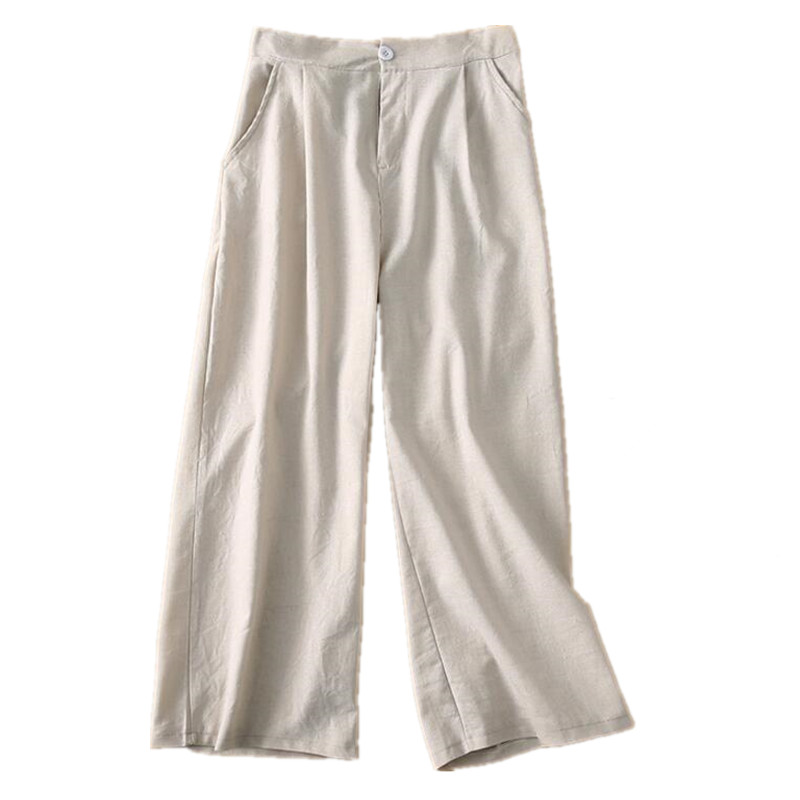 2019 Fashion Women Summer Linen   Pants     Capris   Female High Waist Wide Leg   Pants   Plus Size Casual   Pants   women S358