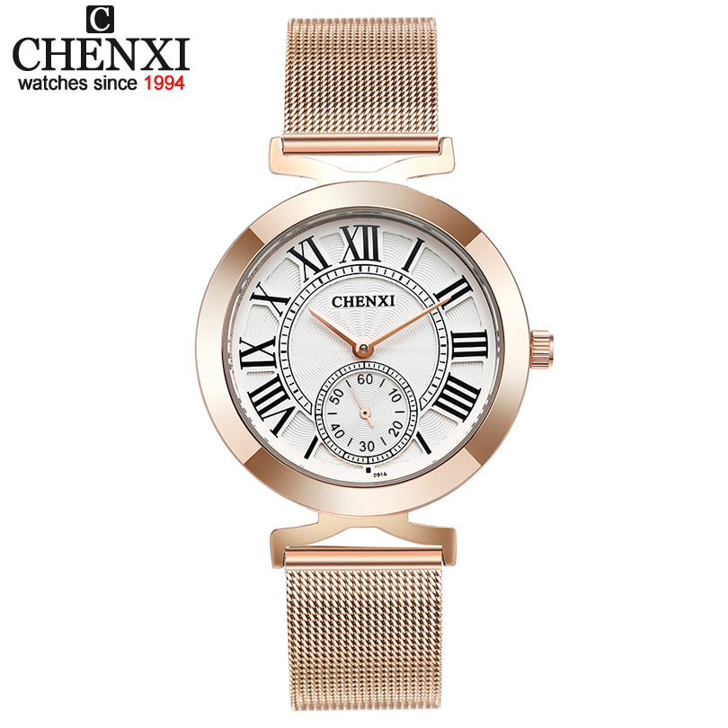 CHENXI Top Brand Fashion Women Watch Women's Quartz Wrist watches 2018 Female Clock Leather or stainless steel Watches xfcs