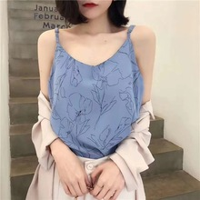 купить Summer Chiffon Tank Top Women Sexy Lace Basic Blusas Spaghetti Strap Top Womens Vest Camisole Crop Tops Female Shirt по цене 592.66 рублей