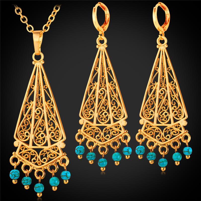 Silver Turkish Platinum: Kpop Bohemian Set Blue Stone Tassel Necklace Pendant