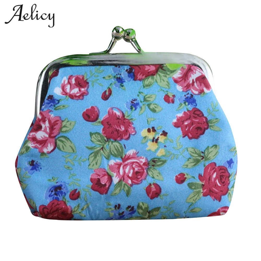 Aelicy New Cute Coin Purse Retro Vintage Flower Canvas Small Wallet Girls Change Pocket Pouch Hasp Keys Bag Metal Bar Opening