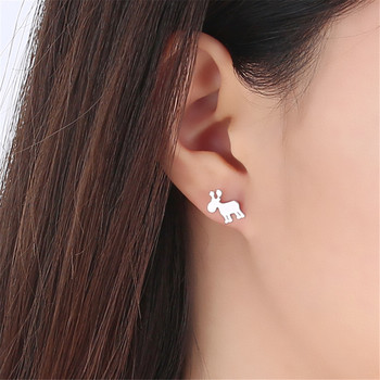 Snowflake Elks Deer Reindeer Earrings S925 Prevent Allergy Reindeer Stud Earrings For Women Girl Christmas Jewelry image