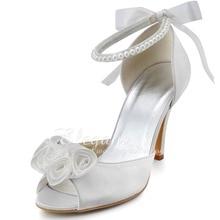 """D-EP2092 Mujeres Blanco Marfil Peep Toe 3 """"alto Talón de la Novia Del Partido de Tarde Bombas de Satén Nupcial de La Boda Dama Zapatos de Vestir Envío Gratis"""
