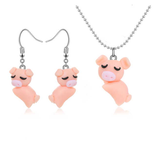 1set trendy cute cartoon jewelry set orange pig pendant necklace for 1set trendy cute cartoon jewelry set orange pig pendant necklace for women animal polymer clay necklaceearrings mozeypictures Gallery