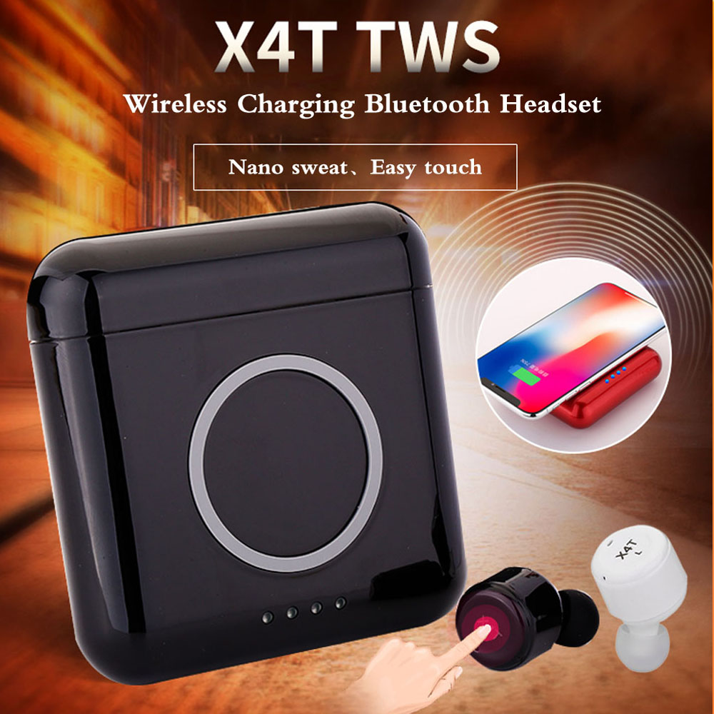 New X4T TWS Wireless Earphones Bluetooth 4.2 Headphone Stereo Earbuds with Mic Sport Earphone with 5200mAH Charge Box Power Bank