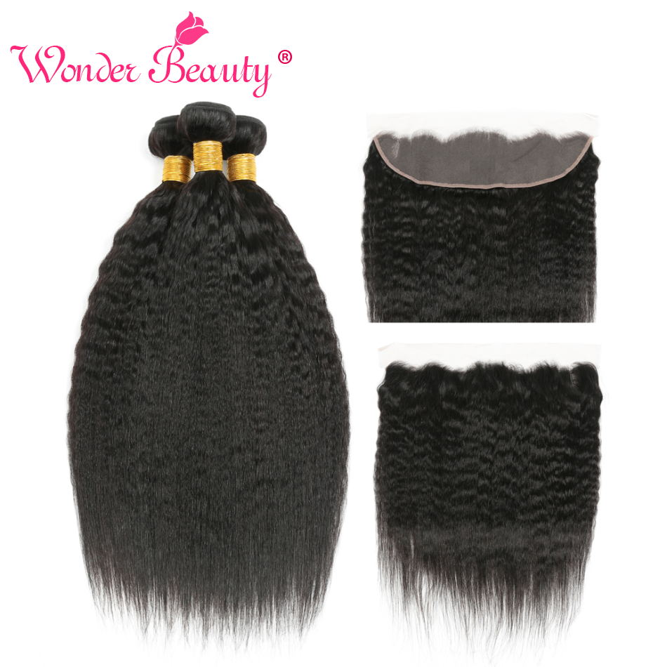 Kinky Straight Hair 3 Bundles With Frontal Brazilian Hair Weave Bundles Corase Yaki Hair Bundles Non Remy Hair Extension