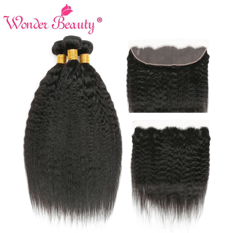 Kinky cabelo reto 3 pacotes com frontal cabelo brasileiro tecer pacotes corase yaki feixes de cabelo não remy extensão do cabelo
