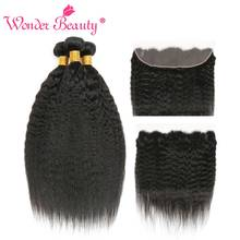 Wonder Beauty Kinky Straight Hair 3 Bundles With Frontal Human Hair Extension Non Remy Brazilian Hair Weave Bundles With front(China)