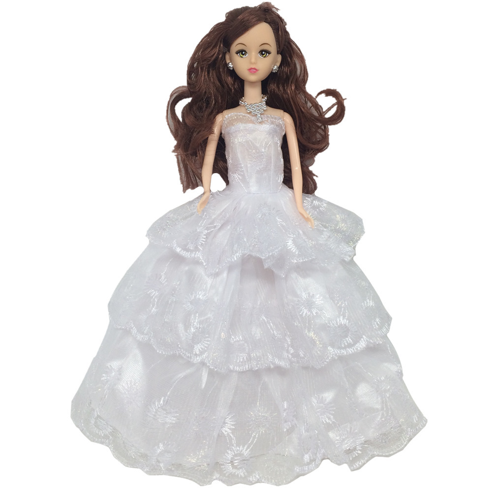 NK One Pcs 2018 Princess Wedding Dress Noble Party Gown For Barbie Doll Fashion Design Outfit Best Gift For Girl Doll 076B