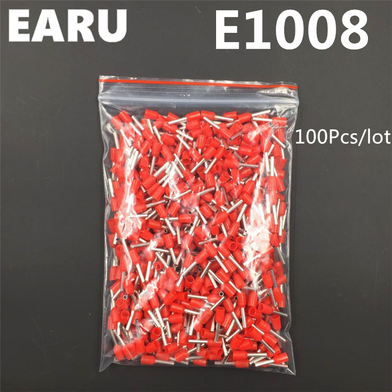 100Pcs E1008 Tube Insulating Insulated Terminal 1MM2 18AWG Cable Wire Connector Insulating Crimp E Black Yellow Blue Red Green 1meter red 1meter black color silicon wire 10awg 12awg 14awg 16 awg flexible silicone wire for rc lipo battery connect cable