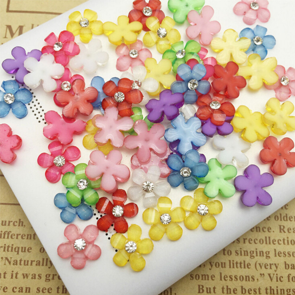 Small flowers for crafts - 20pcs Clolorful Small Mini Resin Flowers Puzzle Diy Creative Crafts Flatback Scrapbooking Girls Kids Reward Toys