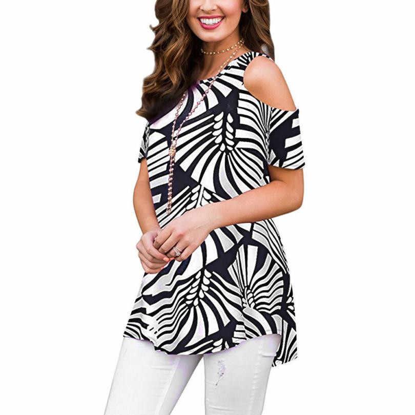 Topos de verão Para Mulheres Tops e Blusas 2018 Túnica Floral Impressão Topos Ombro Frio Elegante Casual Camiseta Mulher Roupas