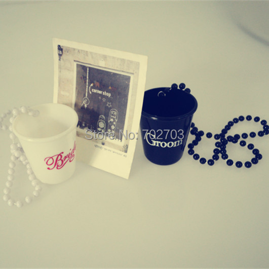 Bride To Be Letters Bachelortte Party Beaded Necklace with Shot Glass  20pcs/lot