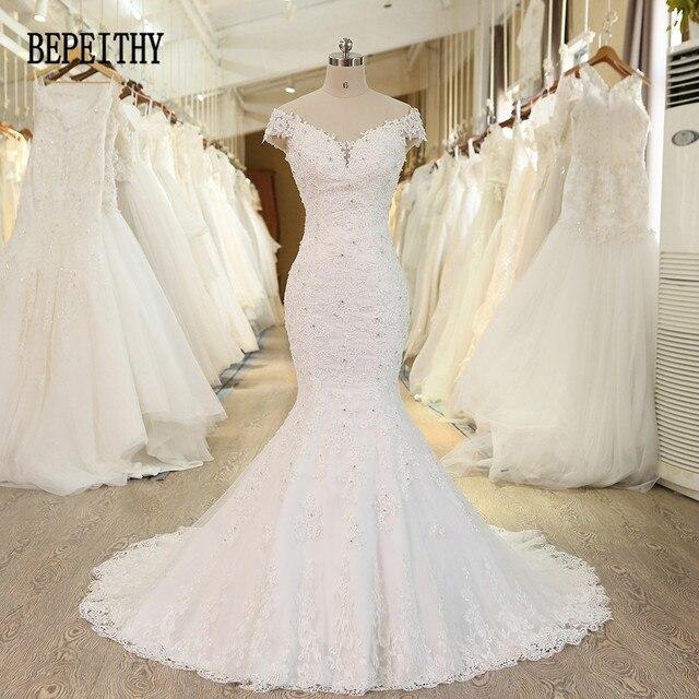 BEPEITHY Foto Reale di Nuovo Arrivo Al Largo Della Spalla Vestido De Novia Sirena Abiti Da Sposa 2019 Pizzo Perline Abito Da Sposa Casamento