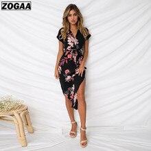ZOGAA Women Floral Print Beach Dress Fashion Boho Summer Dresses Ladies Vintage Bandage Bodycon Party Vestidos Plus Size