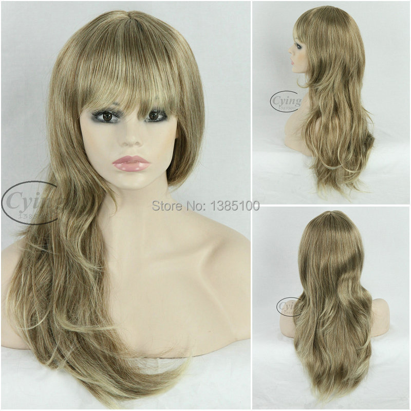 65cm Curly Wig Synthetic Young Fashion Flaxen Hair Full Wigs For