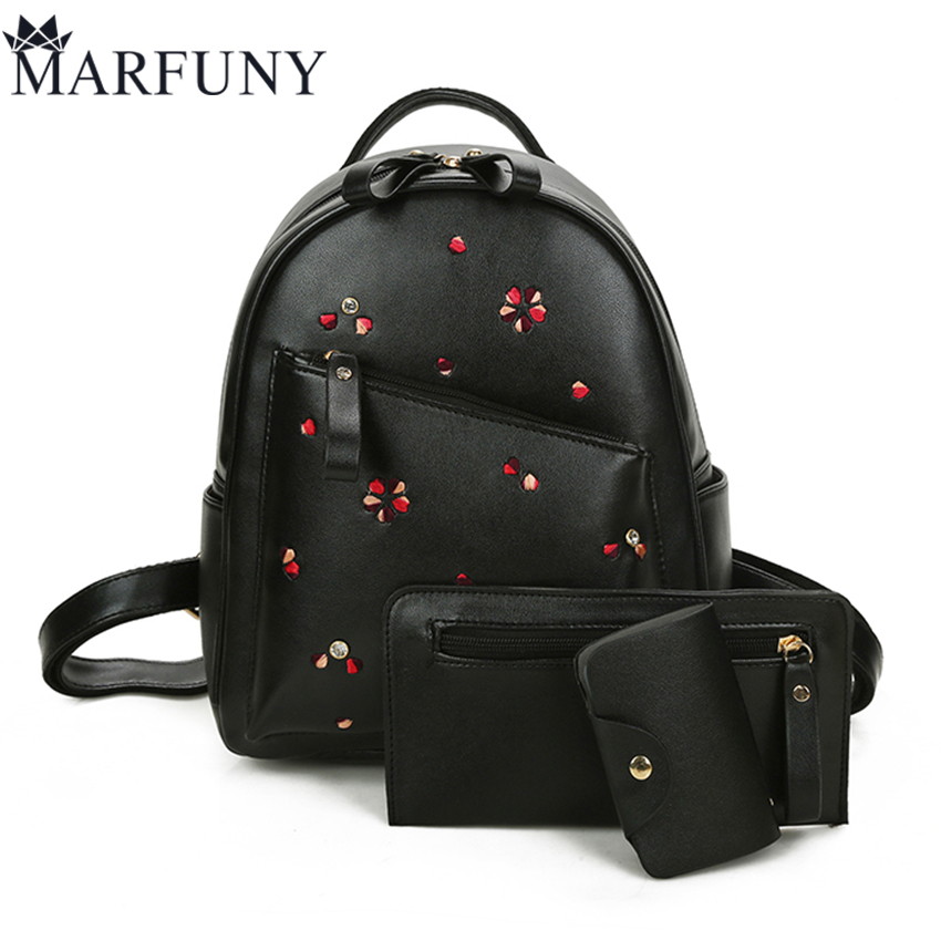 Fashion 3 Sets Backpack Women Bag Embroidery Backpacks For Teenage Girls Cute Floral Back Pack High Quality Pu Leather Backpack