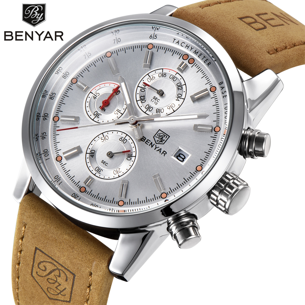 BENYAR Chronograph Sport Mens Watches Top Brand Luxury Quartz Watch Clock All Pointers Work Waterproof Business Watch BY-5102M