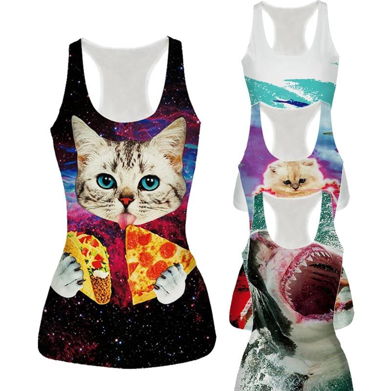 Raisevern New Womens   Tank     Top   Vest Pizza Cat/Shark/Poker/Lion 3D Printed Fashion Sleeveless T-shirt Camisole 21 Styles Dropship