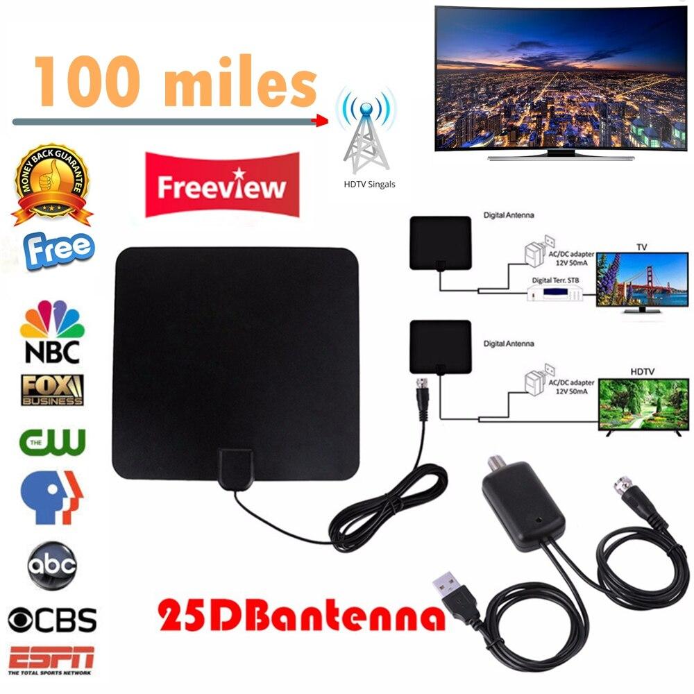 Universel 100 Miles Numérique HDTV Intérieure Antenne TV avec Amplificateur de Signal Booster TV Renard Surf Tnt DVB-T2/DVB-T/ATSC TV Bâton