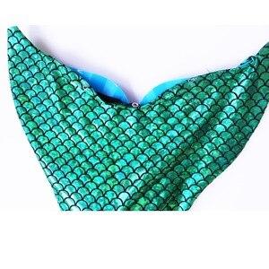 Image 5 - Bañador de sirena con aleta para niñas, traje de baño de sirena, 4 Uds./24 colores