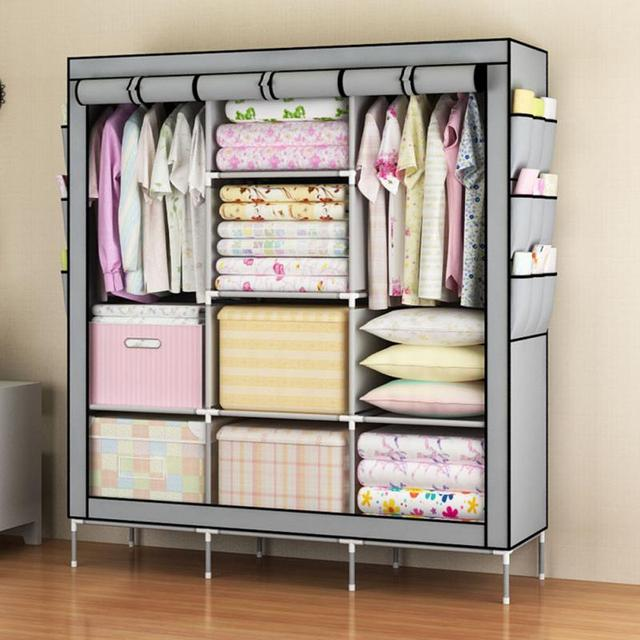 Simple Clothes Closet Portable Wardrobe Storage Organizer With Shelves Multilayer Sturady Durable Construction Cabinet