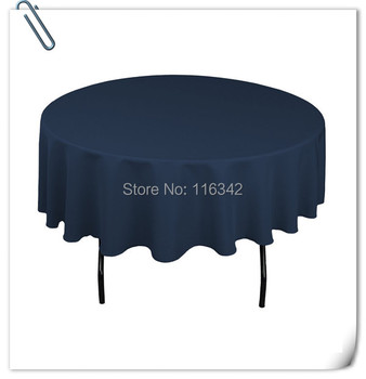 Marious Retail Wholesale polyester  Round  5pcs Navy Blue Tablecloth Wedding Party Banquet Table Decorations  Free Shipping