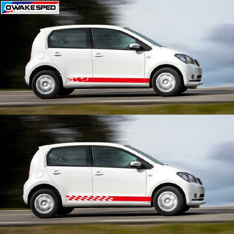2pcs Racing Sport Stripes Car Side Skirt Sticker For Seat Mii 3 5 doors Auto Body Customized Decal Exterior Accessories|Car Stickers| |  -