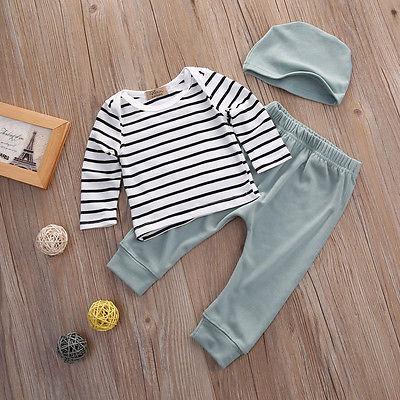 3PCS Set Toddler Kids Baby Boys Girls Outfits Clothes T-shirt +Pants +Hat