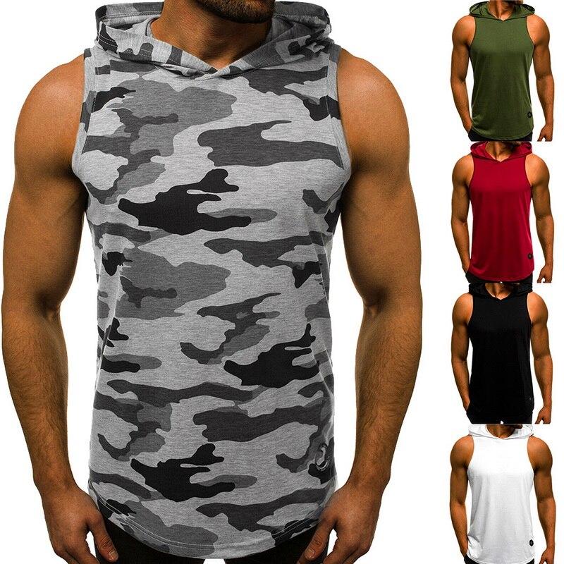 2019 Fasihon Streetwear Summer Men   Tank     Tops   Casual Sleeveless Hoody   Top   Gyms Bodybuilding Men Fitness Vest Muscle Guys