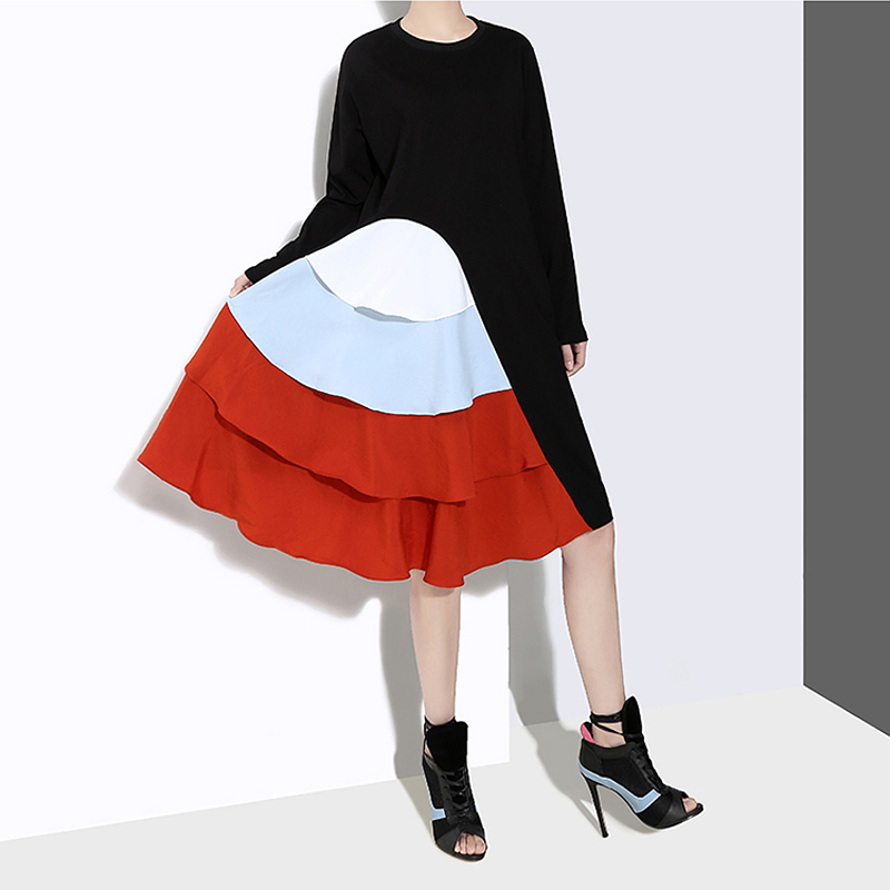 Image 4 - New 2019 Korean Style Women Long Sleeve Autumn Dress Black  Cascading Ruffles Female Casual Patchwork Party Dress Robe Femme  4660Dresses