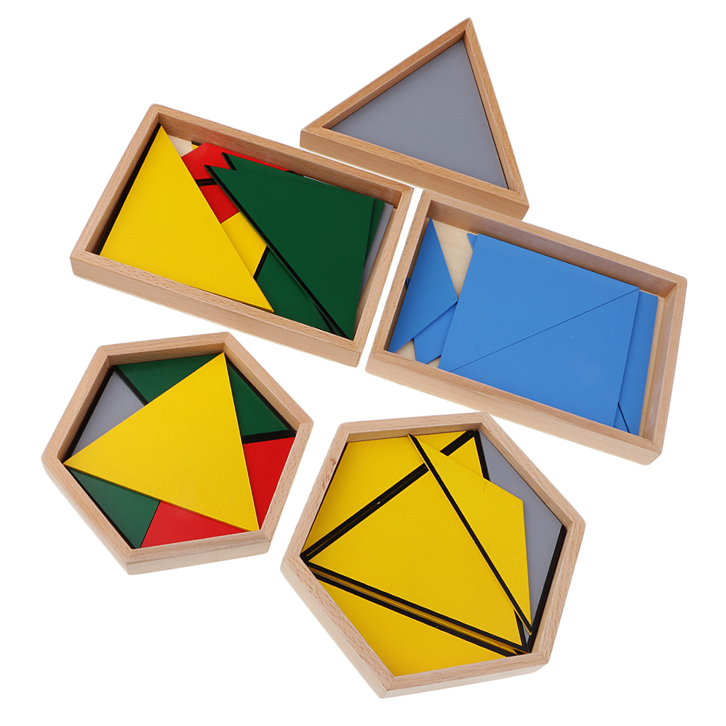 Montessori mathématiques apprentissage développement jouets Triangles contructifs Puzzles Match
