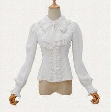 Викторианская Лолита белая шифоновая и кружевная рубашка с высоким воротником и фонариком, блузка, сексуальный корсет стимпанк в готическом стиле, аксессуары для одежды