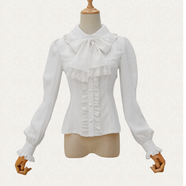 73acb8e3b4 Victorian Lolita blanco gasa y encaje de cuello alto linterna manga camisa  blusa Sexy corsé Steampunk