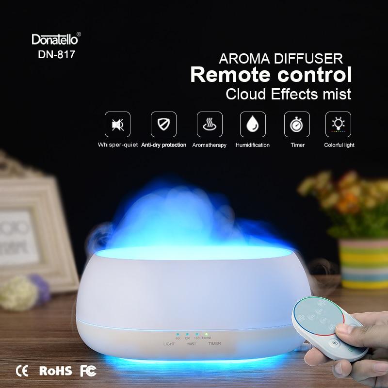 Fimei 500ml Air Humidifier Remote Control Ocean Mist Wood Grain Aroma Diffuser Night Light Oil Diffuser