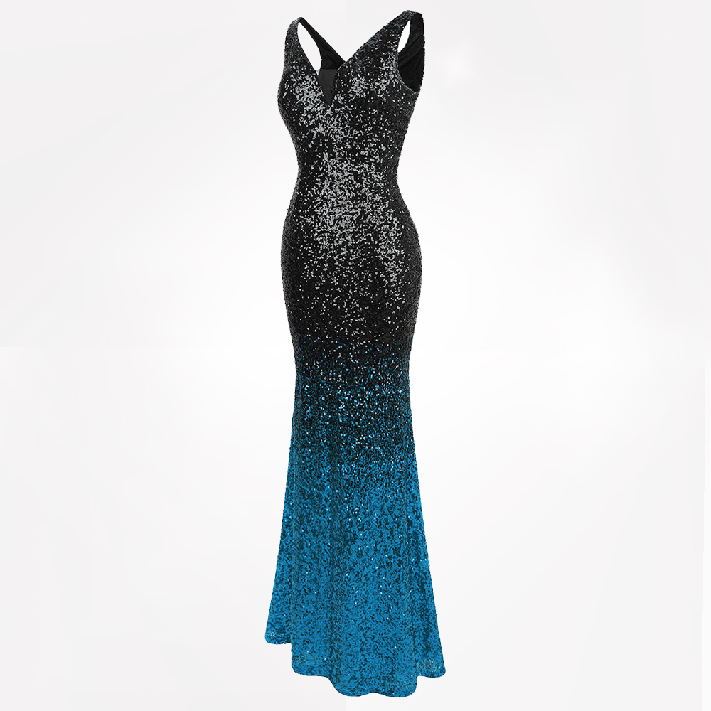 154bfafea36 Angel-fashions Women s Sparkly Contrast Color Sequin Gradient Flapper  Mermaid Prom Dress 382