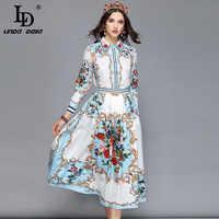 LD LINDA DELLA Autumn Elegant Skirt Two Pieces Set Women's Multicolor Floral Print Blouses + Holiday Casual Skirts Set Female
