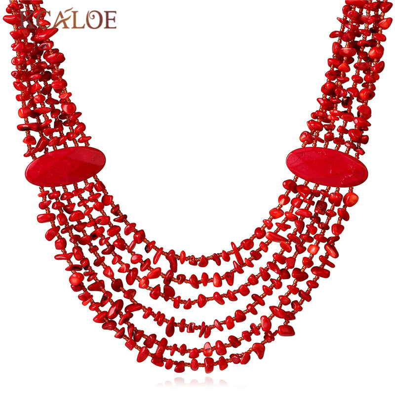 KCALOE Bohemia Ethnic Red Necklace & Pendant Multi Layer Irregular Natural Coral Stone Jewelry Statement Necklaces Women Jewelry