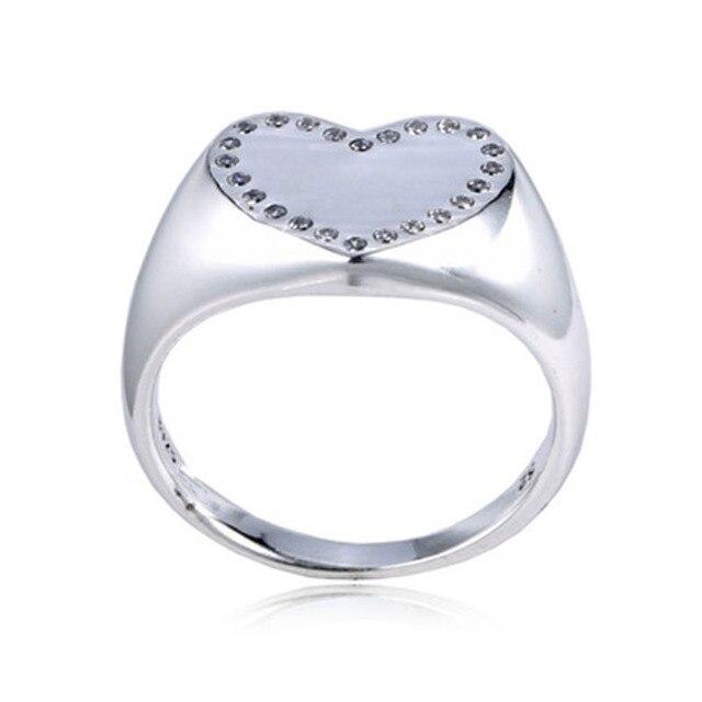 81a08a3250db Buena calidad muy Popular gran corazón diseño 925 Real anillo de plata del  corazón plata 925