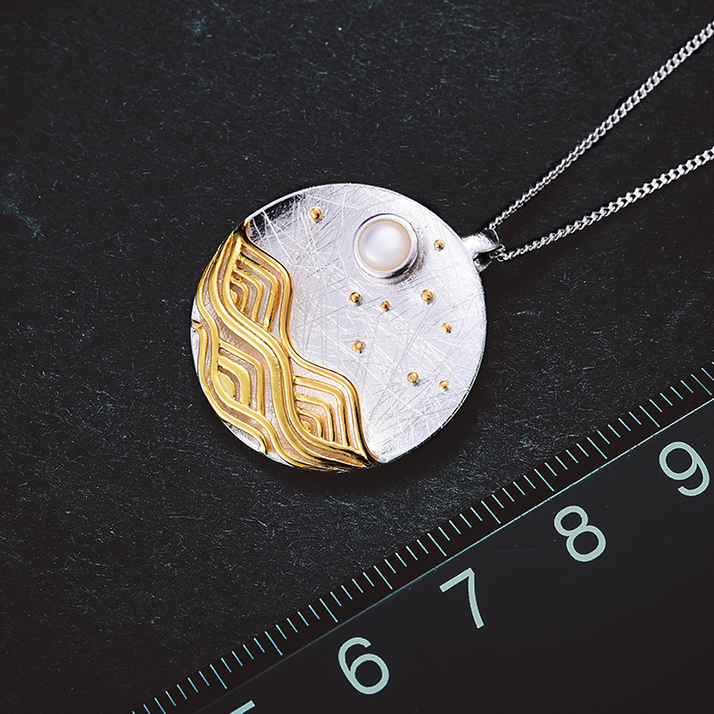 Sterling Silver Handmade Moonlight Designed Pendant 2